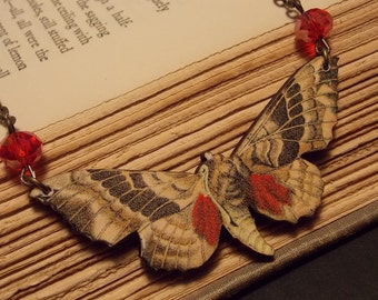 Red and Yellow Wooden Moth Statement Necklace