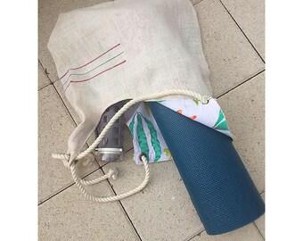 Yoga/Beach-Mat Burlap Shoulder Bag, Large Tote