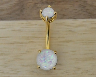 White Simulated Opal Round Shape Double Prong Set Gold Plated Belly Button Ring Navel Body Piercing Jewelry