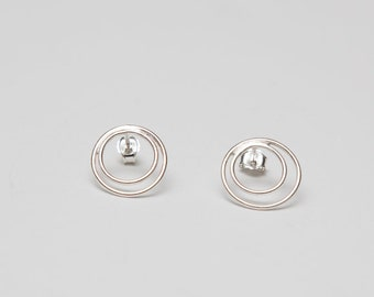 Double Circle | Sterling Silver | Stud Earrings