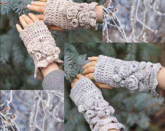 Crochet Pattern: Elegant Rose Hand and Arm Warmers crochet pattern, rose hand warmers, crochet pattern