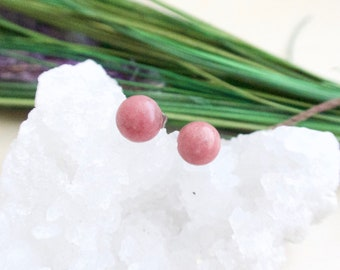 Pink Rhodonite Earrings on Surgical Steel Posts Hypoallergenic Gemstone Studs Sensitive Skin Dusty Rose Gem Gift for her under 20