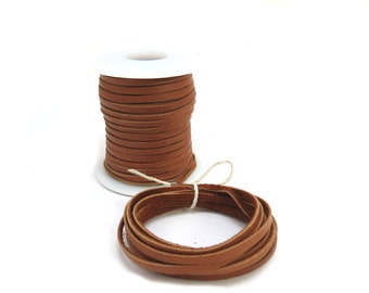 Deerskin Leather Cord, 3mm Tan Leather Cord, 2 Yards Saddle Tan Leather, Deerskin Leather Cord, Jewelry Supplies, Item 489ct