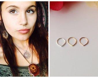 Triangle Septum Ring, Rose Gold Septum Ring.