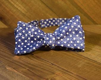Blue Polka Dot Self Tie Bow Tie
