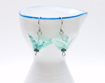 Origami earrings recycled paper turquoise crane eco-friendly jewelry -MADE TO ORDER