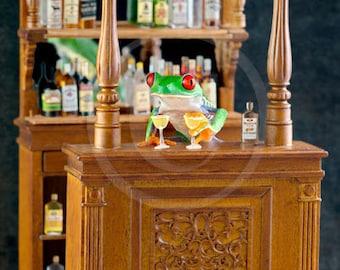 Bartender, Frog Serving Drinks at a Pub, Real Frog Photo, Bar Art