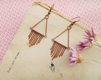 Triangle earrings Copper Earrings Long Chain Earrings Geometric Earrings Statement Earrings Long Dangle Earrings Copper jewelry Hippie funny