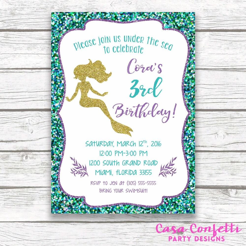 Mermaid Birthday Invitation, Mermaid Invitation, Under the Sea ...