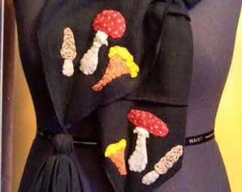 Forest Green Wild Mushroom Fleece Scarf with Hand-stitched Folk Art Felt Mushrooms - Morel, Chanterelle, Amanita Muscaria, Fly Agaric