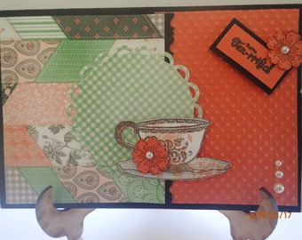 Bright, colourful, teatime, handmade card suitable for a woman