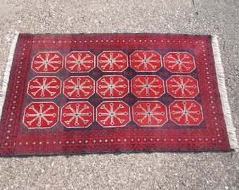 Vintage 3'x5' Hand Knotted Wool Area Rug in Red and Blue
