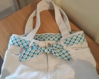 White denim upcycled handbag