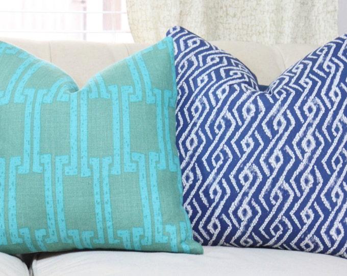 Sale - 25.00 18 x 18 Teal Greek Key Pillow Cover- Designer Green Blue Linen Modern - Aqua and Green Geometric Throw Pillow - Motif Pillows