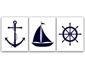 Nautical Nursery Wall Art, INSTANT DOWNLOAD Printable Nursery Art, Sailboat Nursery Decor, Nursery Art, Anchor Art - KIDS87