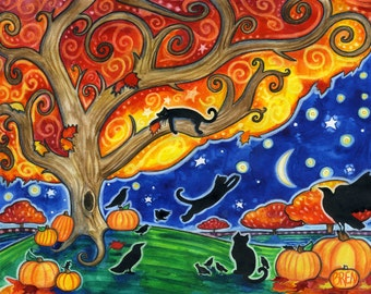 Shelter  - 8x10 Colorful Autumn Black Cats Moon Star Print