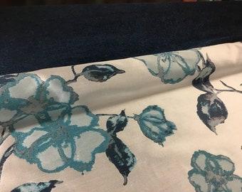 Navy Blue Velvet Teal Silver Gray Indigo Floral Botanical Upholstery Chenille Velvet Fabric Drapery Decorative Pillow ST