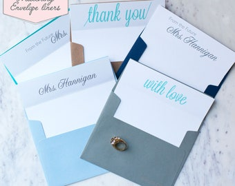 Printed Matching Envelope Liner | A2 Sized Liner | Wedding Thank You Card | Bridal Shower Gift | Thank You From The Future Mrs | Calligraphy