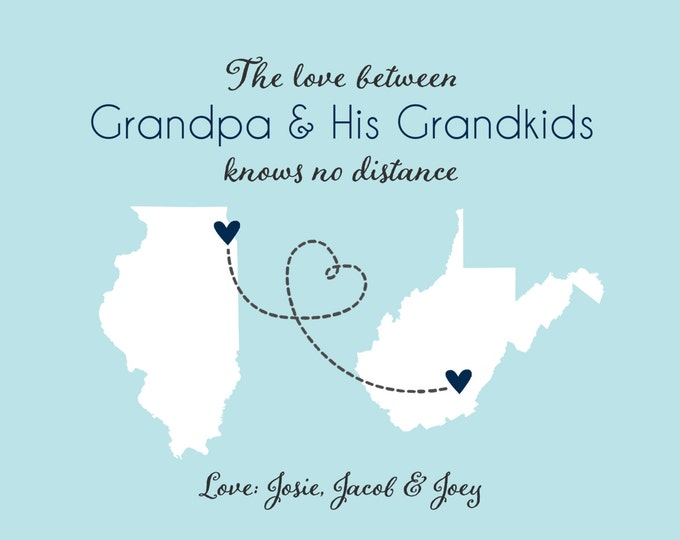 Father's Day Gift for Grandpa, Long Distance - Grandparents, Grandfather Gift Fathers Day Gift Ideas for Grandpa Personalized Maps State Dad