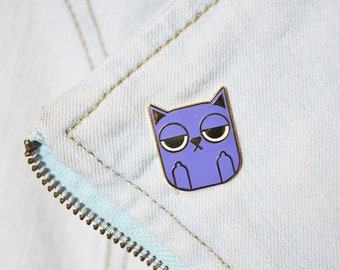 Sass Cat: Purple | hard enamel pin, purple cat pin, cat lovers