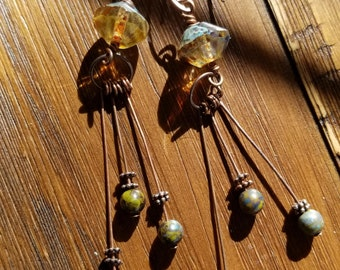 Czech glass and copper shoulder duster earrings