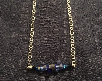 Blue Swarovski Necklace//Sterling Silver