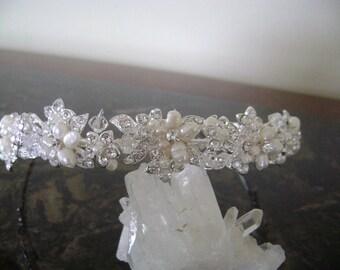 Rhinestone & Freshwater Pearl Bridal Headband, Crystal and Freshwater Bridal Headpiece,Wedding Tiara, Bridal Hair Jewelry, Wedding Accessory