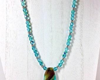Aqua blue agate pendant 18 inch ladies beaded necklace