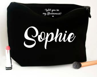Personalised Elegant Handwritten Bridesmaid Makeup Bag - Will you be my Bridesmaid? Wedding cosmetic bag - Accessory Bag - Bridesmaid Gifts