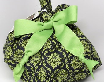 Choice of Size - Navy and Apple Green Damask - Plum Creek Project Bag (B-004)