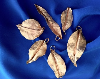 Copper Leaf Ornaments for your Tree or Packages.  Set of 6, Fold Form Forged, No Two Alike.