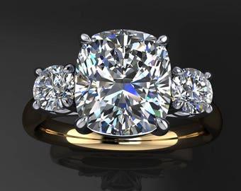 meghan ring – 2.5 carat cushion cut ZAYA moissanite engagement ring, 3 stone ring
