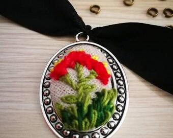 Red flower garden embroidery metalic pendant on black choker
