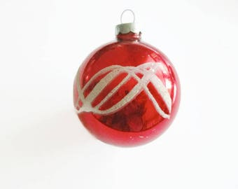 Vintage Shiny Brite Ornament Red and  Mica Decorated  Glass Ball 1950s