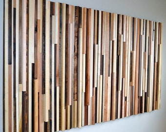 Wood Wall Art - Wood Sculpture Queen Headboard or Wall Art - 3D Art - 36 x 64