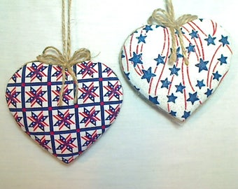 Large  Americana Heart Ornaments | Patriotic Decor | 4th of July | Americana Decor | red white blue |Tree Ornament | Folk Art |Set/2 |  #1