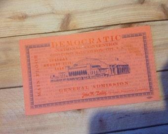 Democratic National Convention 1964 Ticket Atlantic City N.J