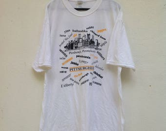 Sale !!! Vintage Pittsburgh Pennsylvania Pittsburghese Slang Definitions Native Tourist T Shirt