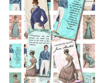 Pride and Prejudice Jane Austen DomInO TiLes, 1x2 InCHiES fOr NeCkLAce JeWelRY AlTerEd ArT RecTanGle