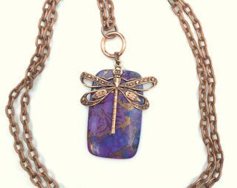 Copper Turquoise, Dragonfly Necklace, Blue/Purple  Gemstone, Dark metal noir, Gem Necklace, Natural Gemstone, Edwardian Fantasy