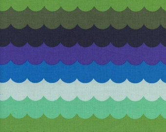 Panorama Ocean Scallops in Landscape by Cotton and Steel /Quilting cotton /Fabric Canada/ half yard