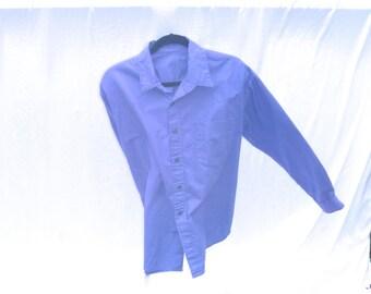Vintage 90's Yoked Solid Purple Button-Down Shirt Men's XL