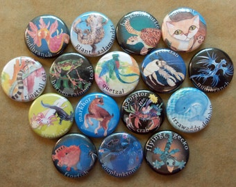 Single Obscure Animal Pinback Buttons - Pins - Badges nudibranch, hawksbill turtle, sand cat, yeti crab, axolotl, Irrawaddy dolphin