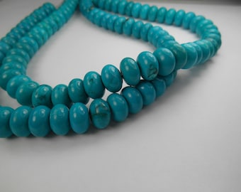 Gemstone Rondelles, Spacer beads,  Turquoise color bead, 13x8mm 11 pcs