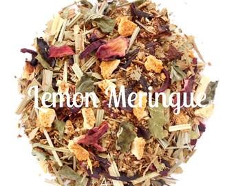 Lemon Hibiscus tea, Organic, Herbal Blend, Non GMO, Vegan, Caffeine Free, Refreshing, Eco Packaging, Hand Blended, LEMON MERINGUE, Healthy