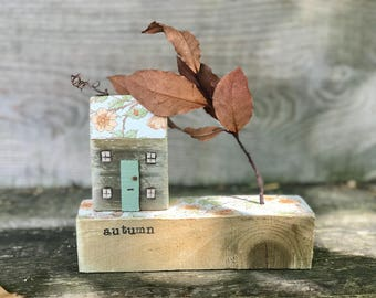 Pip House with garden in autumn. vintage autumnal wallpapered roof,  garden, woodhouse, salvaged wood art, housewarming gift