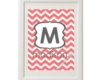 Customizable Monogram Nursery Print, 8x10 Chevron Personalized Monogram and Name Wall Art, Nursary Art, Custom Nursary Art, Baby Name Art