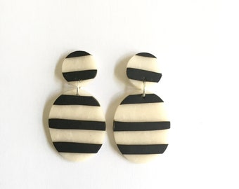 Black and White Striped Clay Drop Earrings