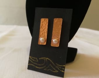 Hammered Copper and Faux Pearl Stud Earrings