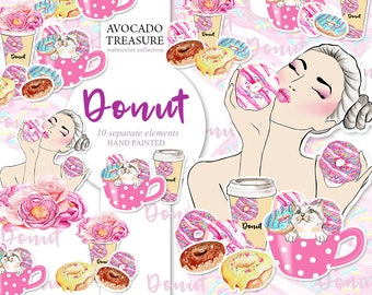 Watercolor Donut Clipart,Party, Breakfast,  Girl with Fonut, Food Clip Art Dessert, Hand Drawn for Scrapbook ,Instant Download